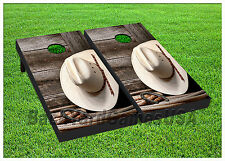 VINYL WRAPS Cornhole Boards DECALS Cowboy Hat Bag Toss Game Stickers 801
