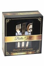 Bella Gold Collection - Disposable Plastic Gold Silverware Cutlery Set | 150 Pcs
