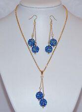 Blue AB Acrylic Shamballa Style Bead & Gold Plate Necklace & Earring Set - NEW