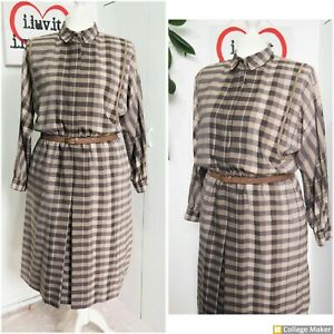 Vintage Early 80s Brown Check Batwing Wool Blend Pockets Midi Dress Size 18