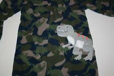 NEW Carter's Boys Fleece 1 piece Pajamas Dinosaur Camo T Rex PJs  5 8 12 14