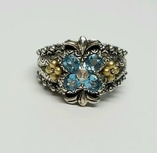 Barbara Bixby Sterling Silver 18K Gold Blue Topaz Flower Ring Size 7.75