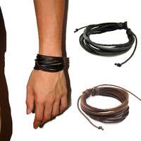 LEATHER BRACELET Rope Leather Bracelet Medieval Gothic Vikings Mens PE