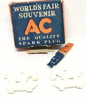 VTG AC Spark Plugs 1939 NY World's Fair Souvenir Box w/2 Sparky The Horse Charms