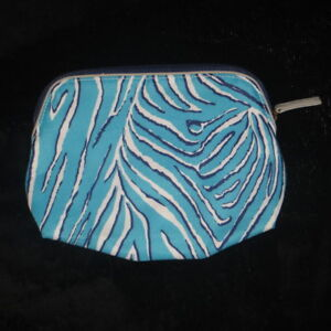 "ESTEE LAUDER Turquoise Navy White Canvas Cosmetics Bag 9 x 6.75"""