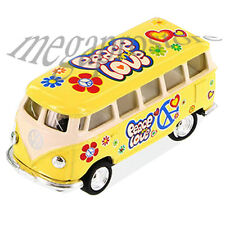 Kinsmart 1962 Volkswagen Classical Samba Bus 1:64 with Pace & Love Decal Yellow