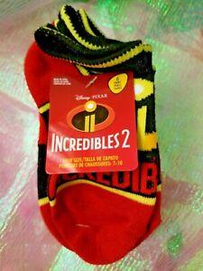 DISNEY INCREDIBLES 2 BOY'S 6 PAIR ANKLE SOCKS-SIZE: SHOE SIZE 7-10-NEW