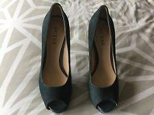 Guess Ladies High Heeled Navy Peep Toe Shoes Size 7 1/2 M / UK 5 1/2. VGC.