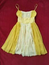 Miss Selfridge100% silk Chiffon strappy dress-great condition size 10/ lemon