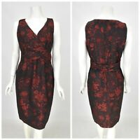 Womens Marella by Max Mara Red Black Floral Dress Twist Front Size IT44 / UK12