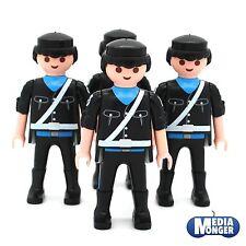 Playmobil ® 4 x personaje: policía | policía | soldado | negros | azul | Weiss | ww2