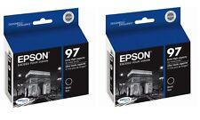 Twin Genuine Epson 97 T097 Black Ink Stylus NX515 NX510 Workforce 40 600 610 615