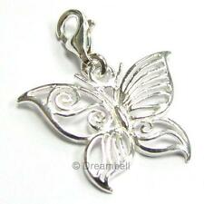 .925 Sterling Silver Filigree Butterfly Dangle Pendant F/ European lobster Charm