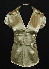 Vtg 90s Chic Shiny Green Dressy Cumber Bun Empire Tie Waist Blouse Shirt Top S