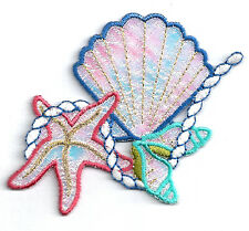 Seashells - Tropical - Beach - Iridescent Embroidered Iron On Applique Patch