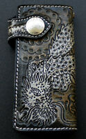 JAPANESE DRAGON TATTOO GENUINE LEATHER BIKER WALLET NEW HANDMADE REAL GOTHIC