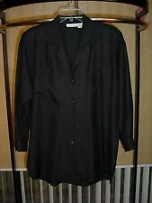 Ann Klein II Women's L/S 100% Shantung Silk Button Down Black TOP BLOUSE XS #572
