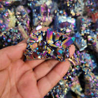 10Pcs Natural Quartz Crystal Rainbow Titanium Cluster VUG Gem Specimens Healing