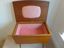 Vintage Teak, Lined Sewing Box mid 1950s. Atomic legs.