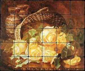 24x20 Yellow Roses Backsplash Mural Tumbled Marble Tile Kitchen Harriet Stannard