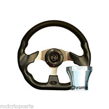 Yamaha G2 thru G29 Golf Cart Carbon Fiber 12.5 Steering Wheel & Chrome Adapter