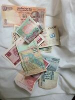 World Mix Currency Lot 10 Circulated Foreign Banknotes Rupee Euro Kroon Sucres