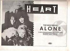HEART Alone 1987 UK Press ADVERT 12x8 inches