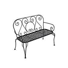 Panchina da giardino in ferro verniciato nero due posti ideale per uso esterno