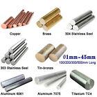 Copper, Brass, Stainless, Bronze, Aluminum, Titanium TC4 Round Bar Rod Ø1mm-45mm