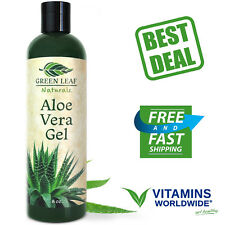 GREEN LEAF NATURALS Aloe Vera Gel Organic For Skin Face and Hair Treat 8 Ounce