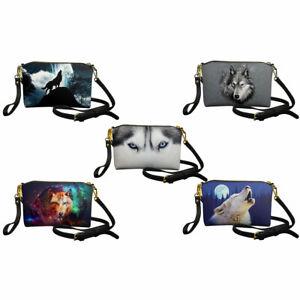Women Leather Messenger Bag Wolf Print Handbag Casual Crossbody Purse Girls Bags
