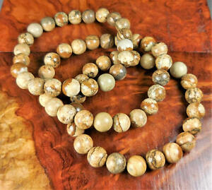 Picture Jasper Bracelet - Stone Beads - Round Polished Gemstone