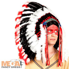 Indian Headdress Chief Hat Mens Fancy Dress Native American Costume Accessory