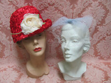 Lot-2) Vtg 60s Hats *Cherry Red Deep Cloche w/Rose Blossom & Fascinator Whimsy*