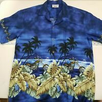 Pacific Legend Men's Hawaiian Shirt Size Large Cotton Ocean Motorcycle Blue