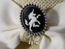 Hatpin With Unicorn On Black Cameo - Antique Silver Finish