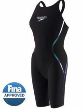 NWT — Womens 26 — Speedo Fastskin LZR Racer X Closed Back Kneeskin — Black/Blue