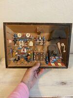 Vintage German Diorama Shadow Box Hand Painted / Hand Carved - Folk Art