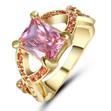 Pink Sapphire CZ Cross Wedding Ring Men/Women's 10KT Yellow Gold Filled Size 8
