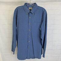LL Bean Men's L Shirt Blue White Checks Plaid Long Sleeve Button Cotton #Y