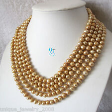 """100"""" 6-8mm Champagne Freshwater Pearl Necklace Strand Jewelry"""