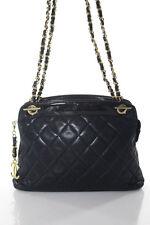 Chanel Vintage Black Leather Patent Leather Trim Quilted Shoulder Handbag