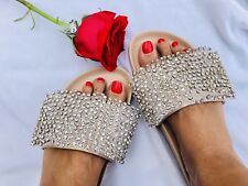 BADGLEY MISCHKA BEAUTIFUL SEXY SPARKLY WITH DIAMOND ACCENT BRIDAL SLIPPERS 8.5