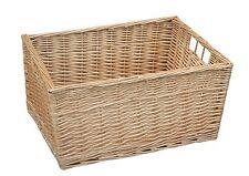 Buff Willow Wicker Storage Basket Bathroom Kitchen X-Large Drawer Logs Bedroom