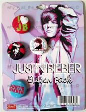 JUSTIN BIEBER 25mm 4 Pin Button BADGE Pack on Card Music Merchandise Memorabilia