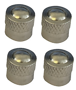 Short Silver Round High Quality Metal Metallic Dust Caps Pack of 4 Caps