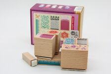 Set of 7 DIY Nail Art Image Wood Rubber Stamp Scrapbook Background Cardmaking