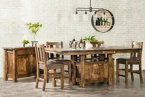 """9-Pc Amish Cabinet Pub Dining Table Stools Rough Sawn Wood Distressed 48"""" x 84"""""""