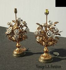 New listing Pair Vintage Italian Tole Gold Gilt Metal White Floral Table Lamps Lights