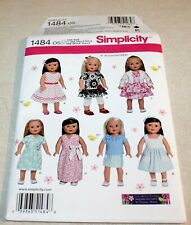 """Simplicity: Pattern #1484 Doll Clothes - 18"""" Dolls - New - 7 Outfits - Dresses+"""